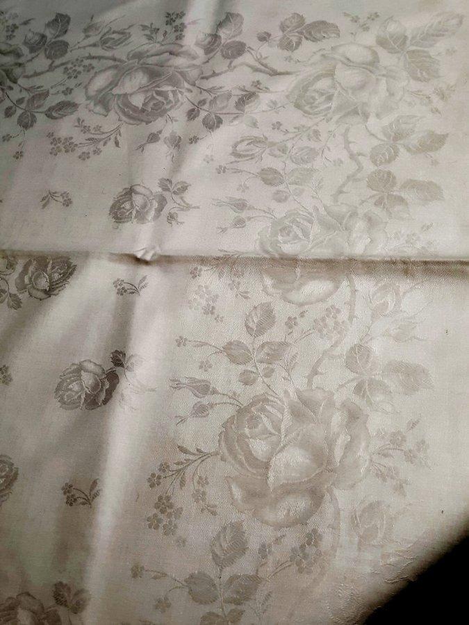 Großes Tafeltuch Baumwoll-Damast im Rosendekor