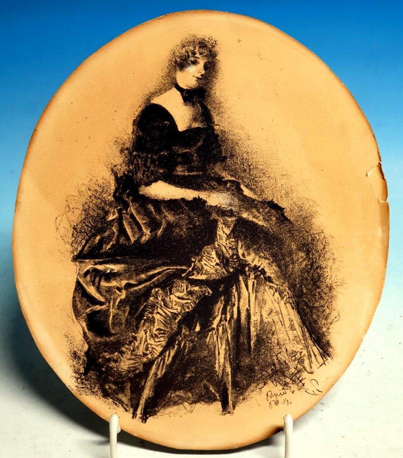 Lithographie einer Dame in Biedermeiertracht