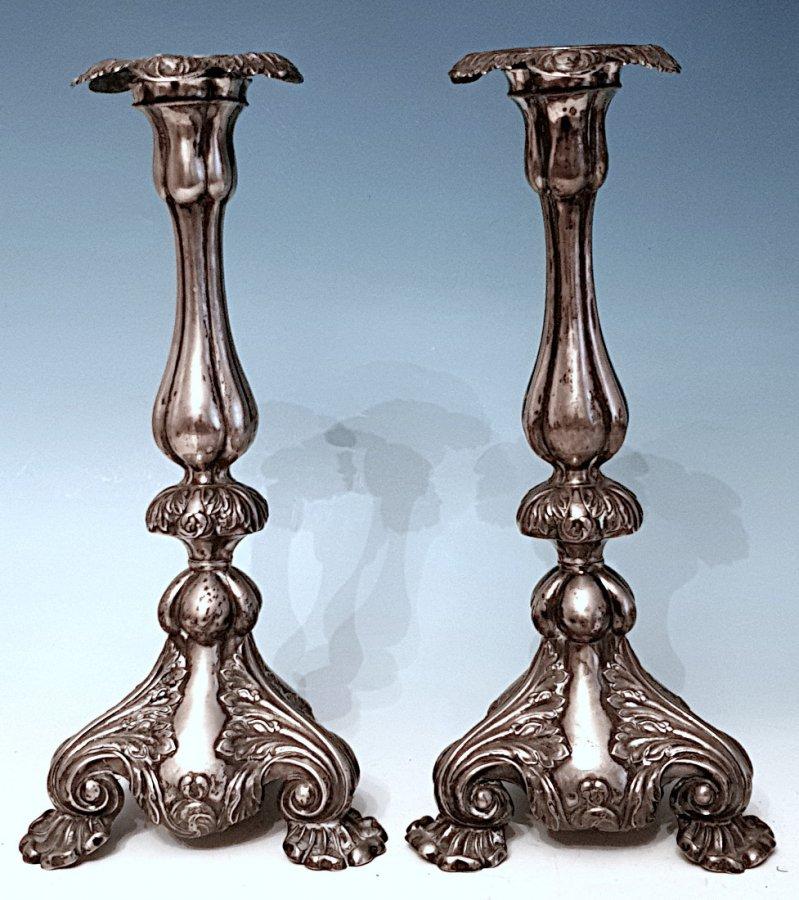 Paar Einkerzenleuchter Silber 19.Jahrhundert