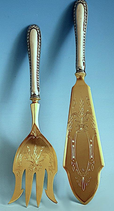 Vorlegebesteck Silber, teilvergoldet