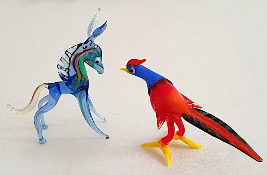 2 Tierfiguren aus Glas